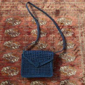 Handbags - Blue Straw Envelope Summer Crossbody Bag